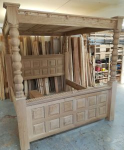 Bespoke Oak Four Poster Bed in Workshop
