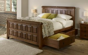 Traditional Solid Wood Bed with Storage
