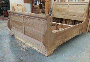 Solid Oak Bespoke Sleigh Bed in Workshop