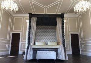 8ft Tall Wooden Four Poster Bed with Drapes