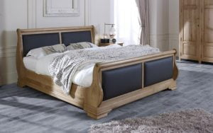 Leather and Oak Sleigh Bed