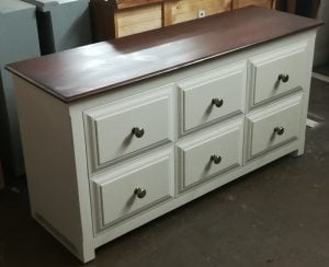 Painted Chest of Furniture with Oak Top