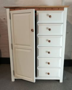 Painted Wardrobe with Oak Top