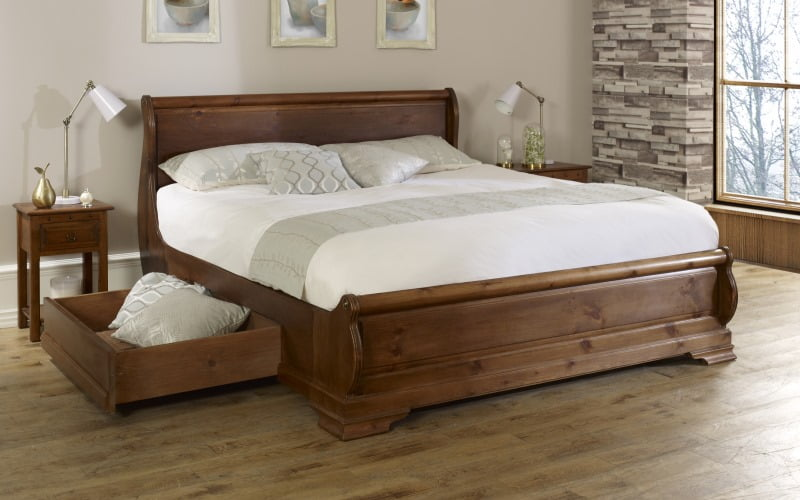 Queen Size Sleigh Bed with Storage Drawers