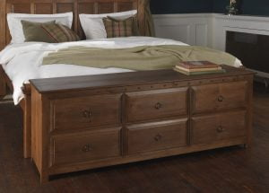 Solid Wood 6 Drawer Chest at End of Bed