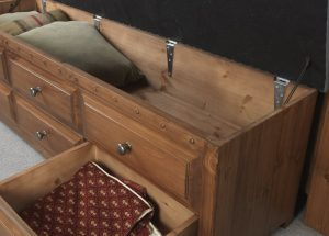 Solid Wood Blanket Chest with Open Lid & Drawer