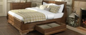 Wooden Sleigh Bed with Drawers
