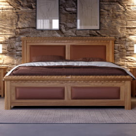 King-size Oak Bed with Real Leather