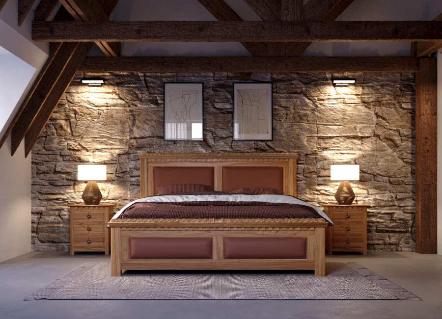Solid Oak Traditional Bed and Bedside Cabinets