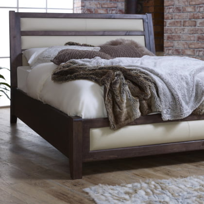 Modern Leather Bed with Solid Wood Frame