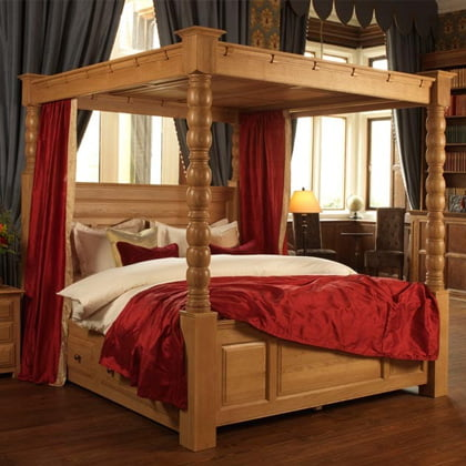 Solid Oak Four Poster Bed