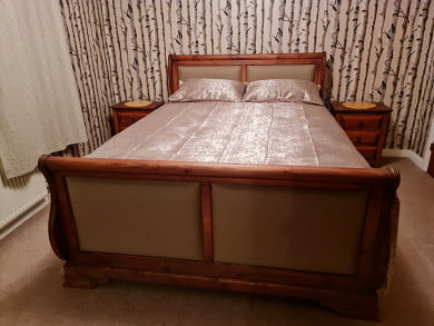 Solid Wood Sleigh Bed with Real Leather