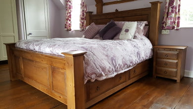 Wooden Bed with Bedside Cabinet