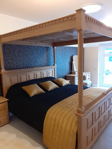 Handmade Solid Oak Four Poster Bed