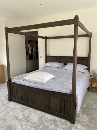 Solid Wood Four Poster Bed in a Walnut Finish