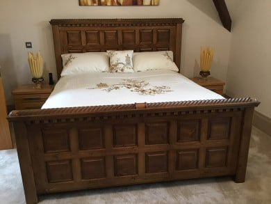 Traditional Wooden Bed with High Headboard