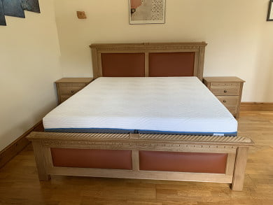 Handmade Traditional Style Bed with Leather Inserts