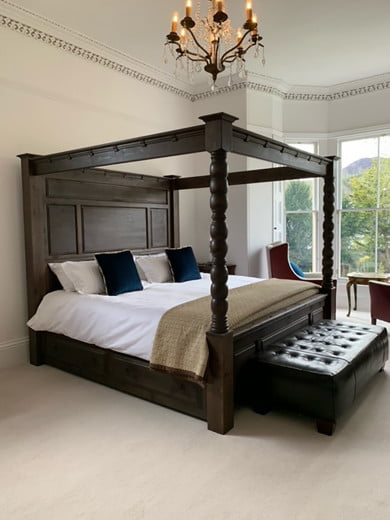 Handmade in the UK Four Poster Bed in a Walnut Finish