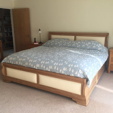 Wooden Sleigh Bed with Silk Leather